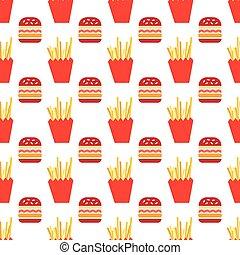 hamburger, e, frita, Padrão,