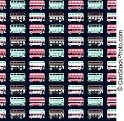 buses pattern - Seamless pattern with city bus vector...