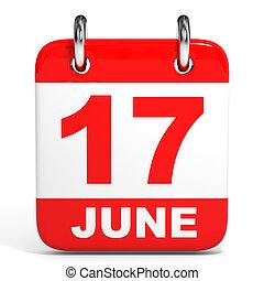 Calendar 17 June - Calendar on white background 17 June 3D...