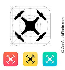 Quadcopter drone icon Vector illustration