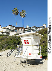 Lifeguard tower - An unmanned lifeguard tower on a beach...