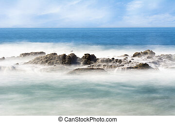 Misty offshore reef - Slow motion scenic of a beautiful reef...