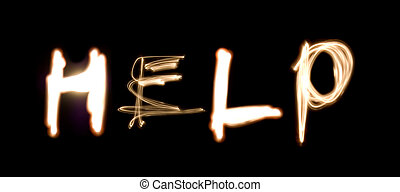 HELP Light Painting - Light painting photograph of the word...