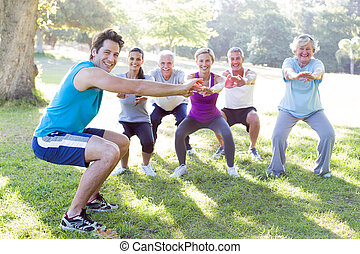 Happy athletic group training - Happy athletic group...