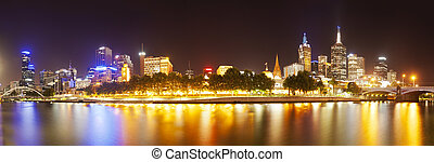 View of Yarra river in Melbourne, Australia - View of...