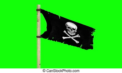 Waving pirate flag on green screen - A waving pirate flag...