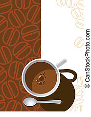 Coffee cup on a brown background with coffee beans, vector...