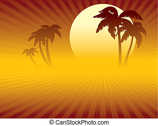 Tropical sunset, a desert or a beach and oasis with palm...