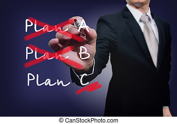 Business plan strategy changing. Crossing over Plan A, B, C....