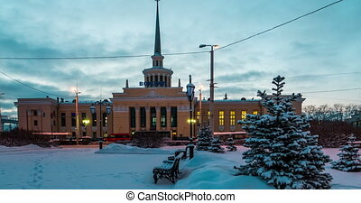 Railway Station in Petrozavodsk, Russia at Night With Cars...