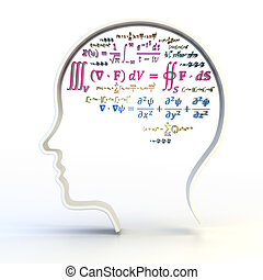 Outline of human head with advanced mathematical equations,...