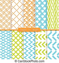 Bright and simple orange blue and green pattern set -...