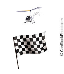 illustration of Racing flag and helicopter isolated on white...