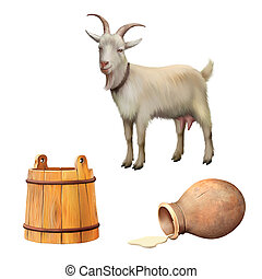 Goat standing up isolated on a white background, pitcher...