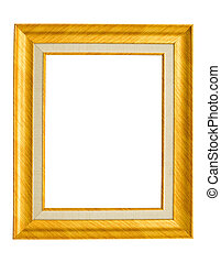 Gold frame for painting or picture on white background
