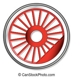 wheel of steam locomotive on white background