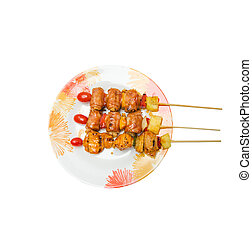 Isolated barbecue on dish - Isolated barbecue dish on the...