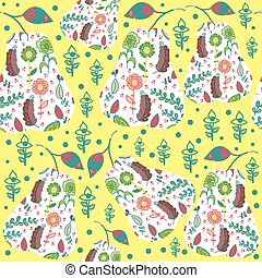 Fruit abstract retro seamless pattern and seamless pattern...
