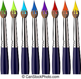 Paint brushes aligned with colors on the bristles - Eight...