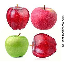 maçã, ligado, branca, fundo,