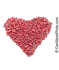 Red kidney beans heart shape isolated on whte