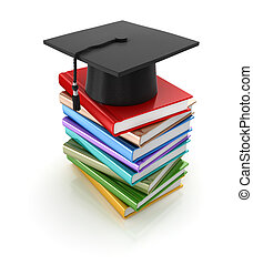 Mortar board and books , computer generated image. 3d...