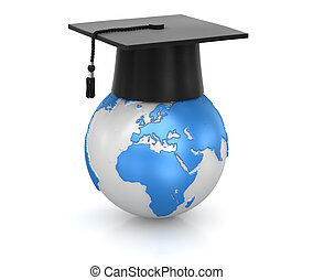 Mortar board and world , computer generated image 3d...
