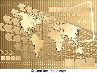 Large gold map - Large gold world map on an abstract...