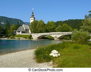 Church on Lake Bohinj.National park Triglav. Slovenia.