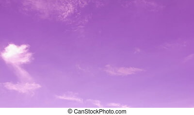 Pink sky with clouds. Time lapse motion