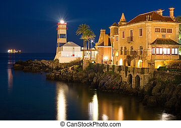Cascais lighthouse at night, Portugal - View of Santa Marta...