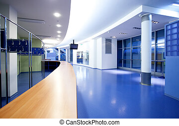 empty foyer - empty hall with blue floor in the modern...
