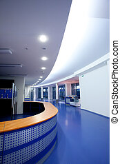 empty foyer in the modern building with blue floor