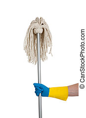 Mop held by a rubber gloved hand