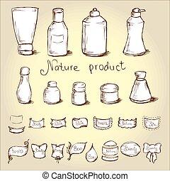 Set bottles, tubes and them label Vector illustration - Set...