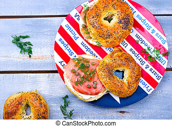 bagel with a smoked salmon and cream cheese. selective focus...
