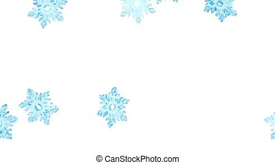 Light blue crystal snowflakes fall
