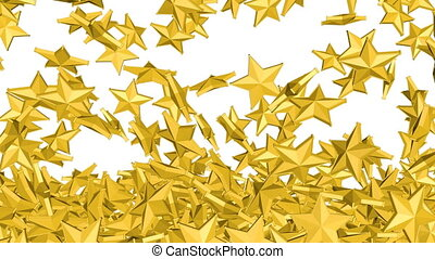Gold stars is falling down on a white and forming a wall in...