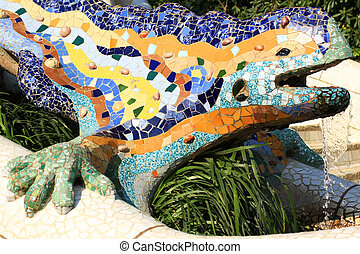 Park Guell Lizard - A detail of Gaudi Park Guell in...
