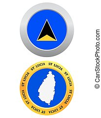 button as a symbol St Lucia flag and map on a white...