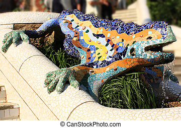 Park Guell - A detail of Gaudi Park Guell in Barcelona