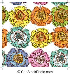 Elegance Seamless pattern orange, blue, yellow, pink, green flowers with a brown outline on white background.