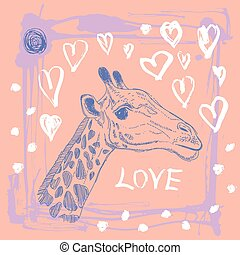 Card with cute giraffe and heart. Sketch. love. Pink and...