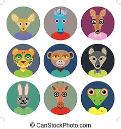 Set of animals faces circle icons set in Trendy Flat Style....
