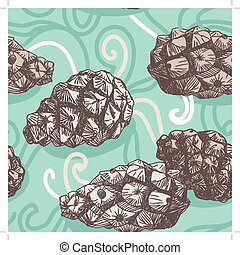 seamless pattern with Pine cones and frosty patterns. Brown and blue. Sketch.