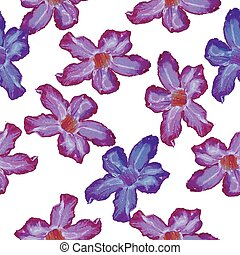 Desert Rose lilac flower. Seamless pattern. Sketch on a white background