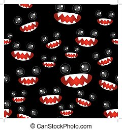 Seamless pattern Monsters eyes and toothy mouth on black...