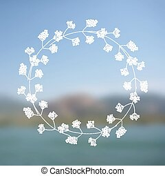 Floral wreath on blurred background - Hand drawn floral...