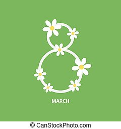 March 8 greeting card in flat style