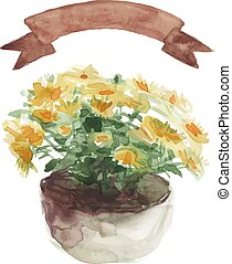 Yellow flower in a flower pot, beige ribbon set on white background
